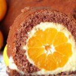 Kakaová mandarinková roláda